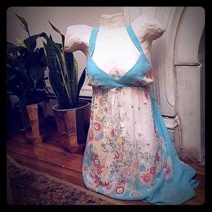 Oscar de la Renta Pink Label blue floral chemise
